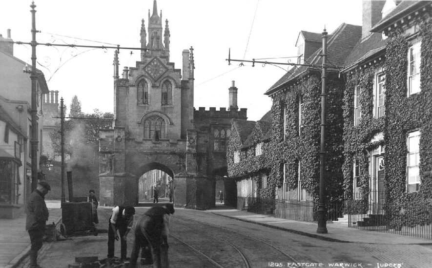 The East Gate, Warwick. Showing Landor House on the left.  1910s |  IMAGE LOCATION: (Warwickshire County Record Office)