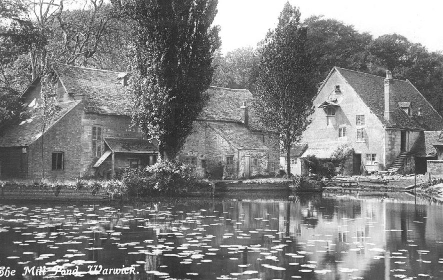 The mill pond at Guy's Cliff Mill, Warwick.  1910s |  IMAGE LOCATION: (Warwickshire County Record Office)