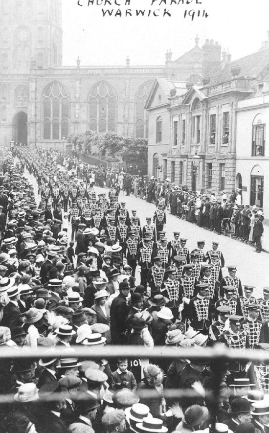 Troops marching in Church Street, Warwick.  Probably after a church parade.  1914 |  IMAGE LOCATION: (Warwickshire County Record Office)