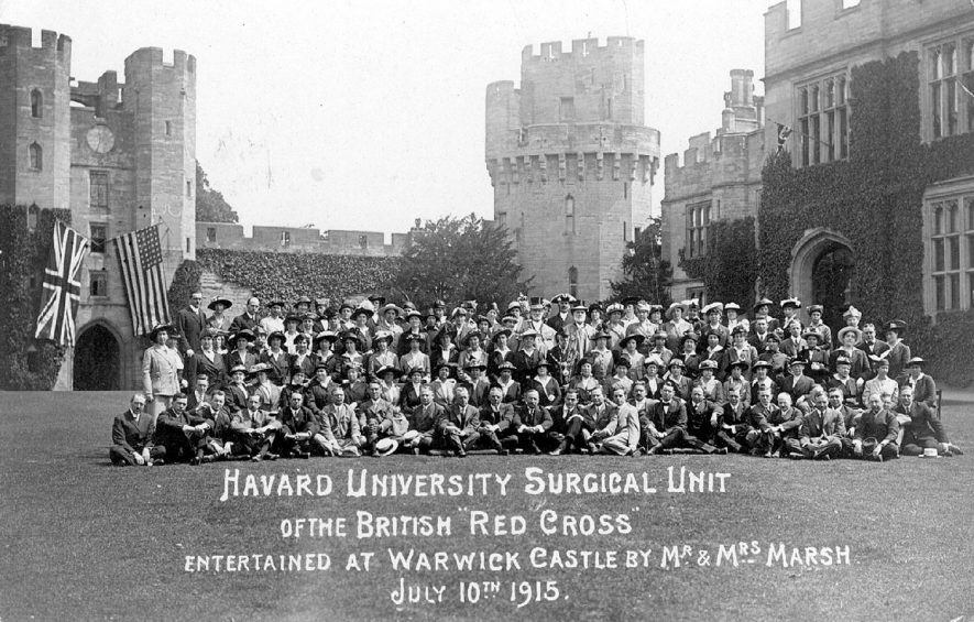 Members of the Harvard University Surgical Unit of the British Red Cross entertained in Warwick Castle in 1915 |  IMAGE LOCATION: (Warwickshire County Record Office)