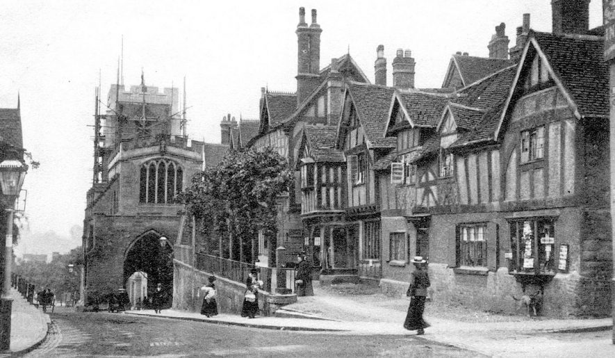 Lord Leycester Hospital and Westgate, Warwick, showing scaffolding on the tower of Westgate.  1900s |  IMAGE LOCATION: (Warwickshire County Record Office)