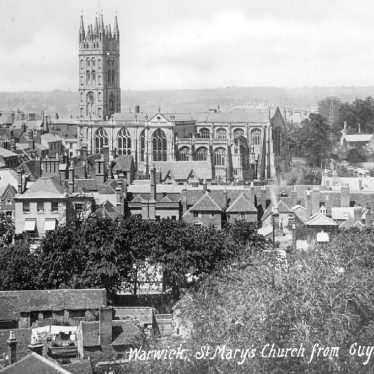 Warwick.  St Mary's Church from Guy's Tower