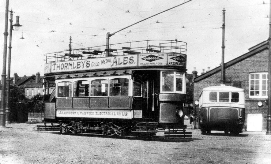 Electrically powered tram at Warwick depot, Depot Lane, Warwick. On side of tram