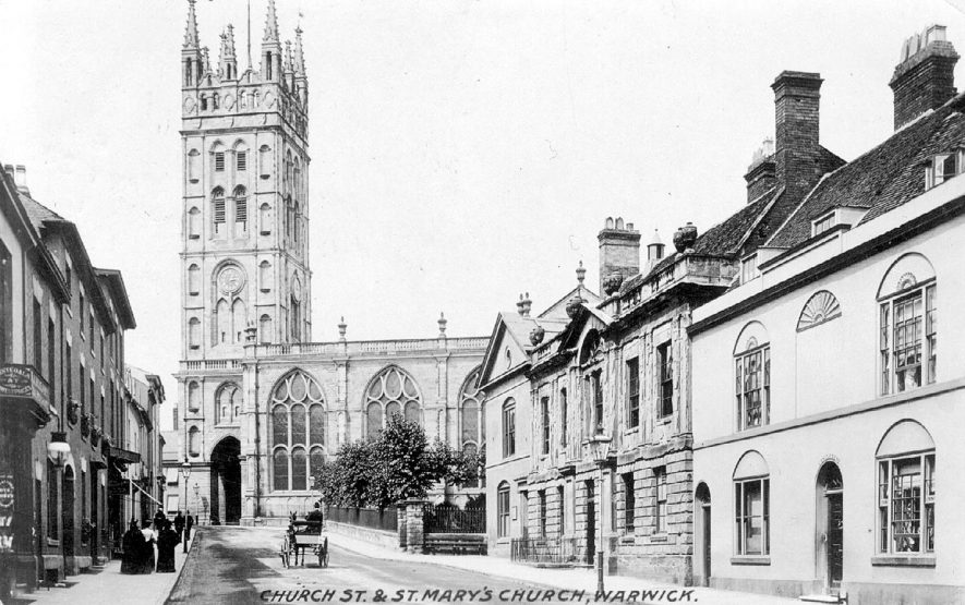 St Mary's Church and Church Street, Warwick.  1910s |  IMAGE LOCATION: (Warwickshire County Record Office)