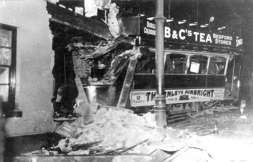 Remains of tram and building after an accident on Castle Hill/ Eastgate, Warwick.  1916 |  IMAGE LOCATION: (Warwickshire County Record Office)