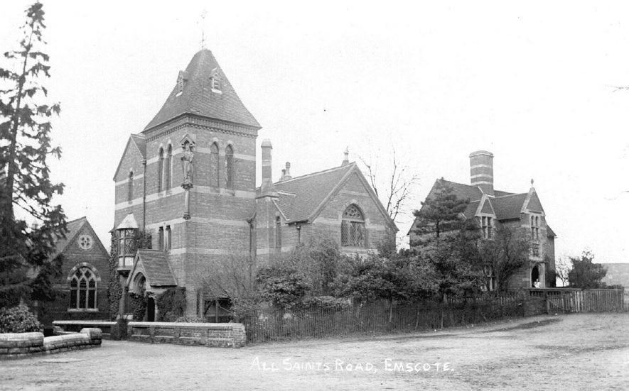 St. Edith's Home for distressed gentlemen with the schoolmaster's house on the right. All Saint's Road, Emscote, Warwick.  1900s