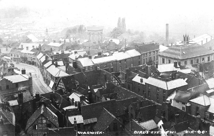Bird's eye view over the rooftops of Warwick.  1900s |  IMAGE LOCATION: (Warwickshire County Record Office)