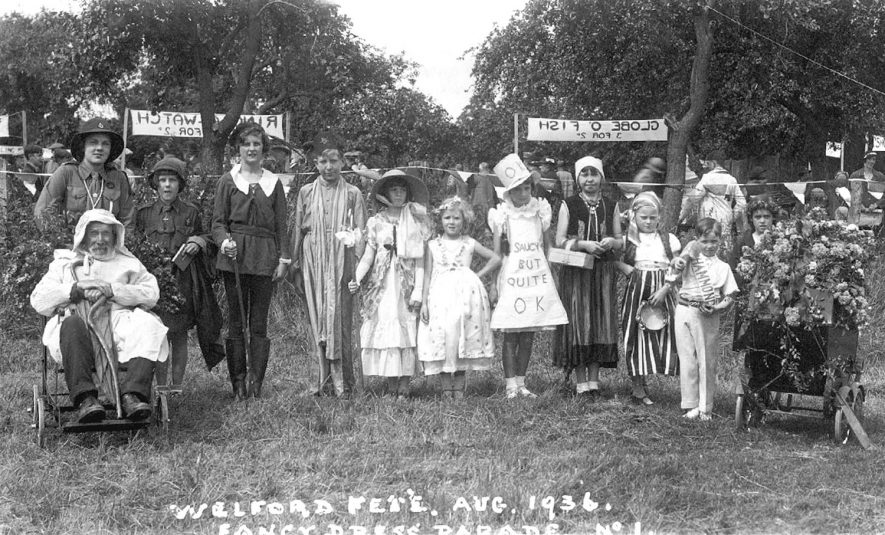 Children in fancy dress at Welford on Avon fete.  August 1936 |  IMAGE LOCATION: (Warwickshire County Record Office)