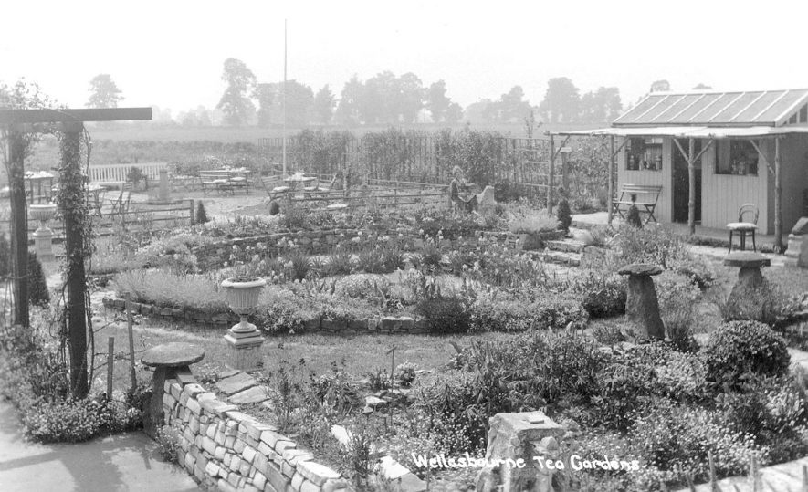 The Tea Gardens on the Warwick Road were a delightful place to have tea and cakes on a sunny afternoon, Wellesbourne.  1929 |  IMAGE LOCATION: (Warwickshire County Record Office)