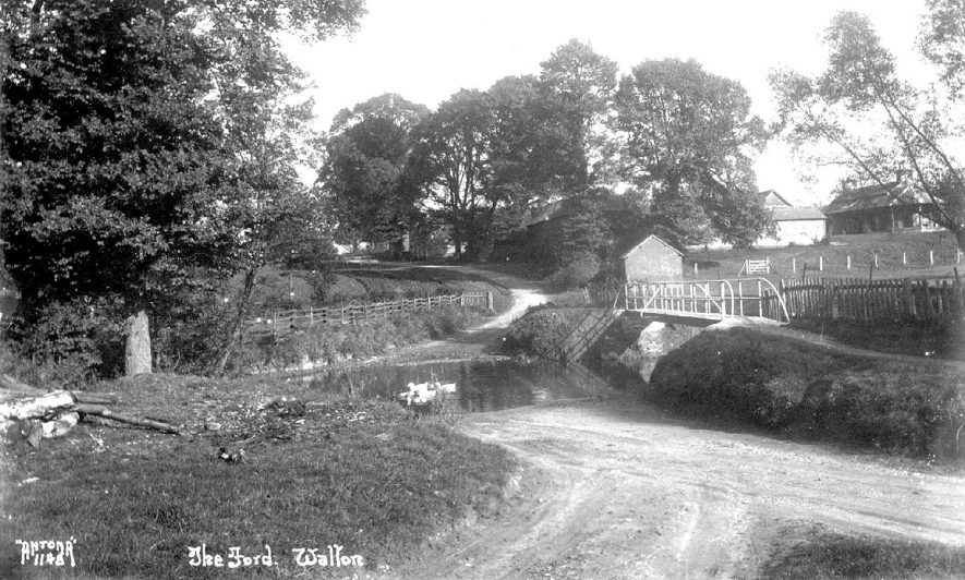 The ford over the River Dene at Walton with Home Farm on the right.  1920s |  IMAGE LOCATION: (Warwickshire County Record Office)