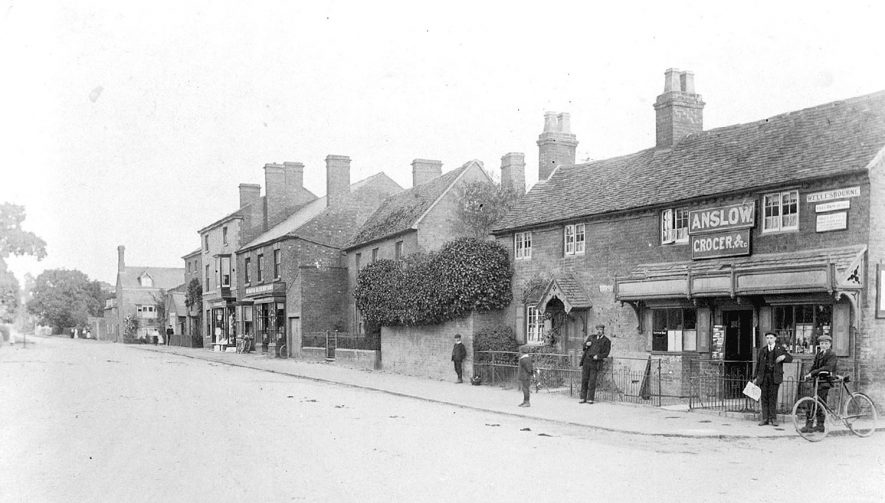 The corner shop on the Warwick Road, Wellesbourne.  Anslow the Grocer, was also the Post Office and Telegraph Office.  1910s |  IMAGE LOCATION: (Warwickshire County Record Office)
