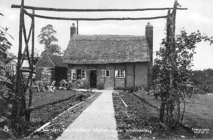 Wu-den tea gardens and cottage, Weston under Wetherley.  1910s |  IMAGE LOCATION: (Warwickshire County Record Office) SCAN DATE: (1/1198)
