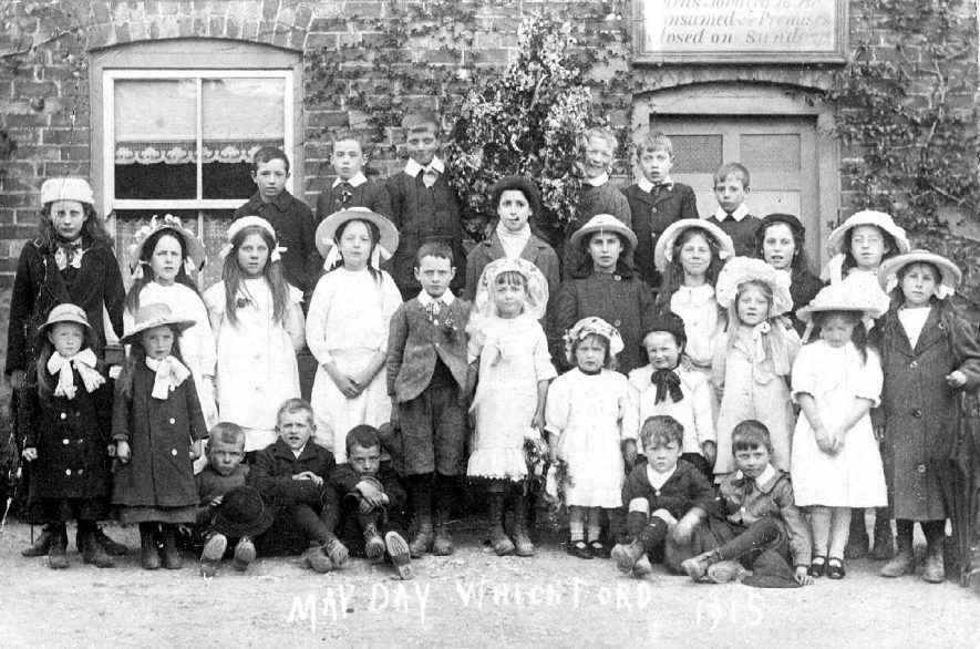 May Day in Whichford, featuring a group of children.  1915 |  IMAGE LOCATION: (Warwickshire County Record Office)