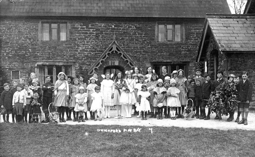 May Day in Whichford, featuring a group of performers.  1924 |  IMAGE LOCATION: (Warwickshire County Record Office)