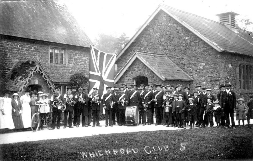 Whichford Club with band.  1910s |  IMAGE LOCATION: (Warwickshire County Record Office)