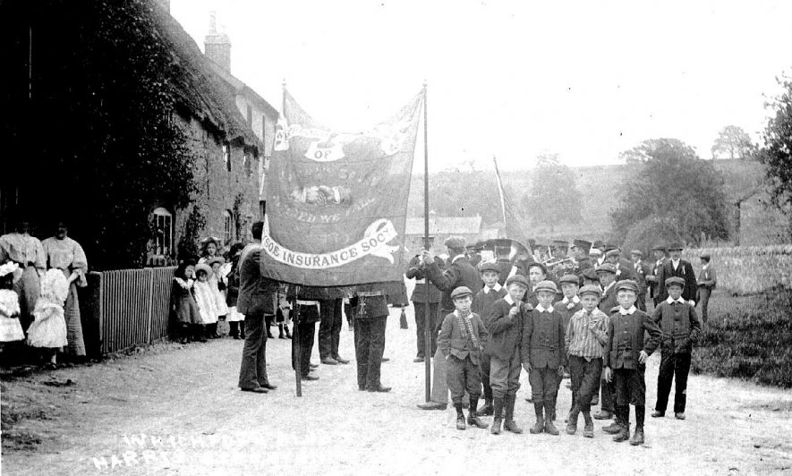 Whichford Club with banner.  1900s |  IMAGE LOCATION: (Warwickshire County Record Office)