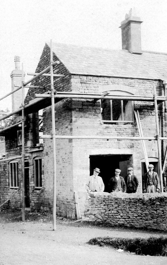 Whichford post office in the process of rebuilding in 1908. |  IMAGE LOCATION: (Warwickshire County Record Office)