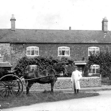 Whichford.  Post Office with pony and trap outside
