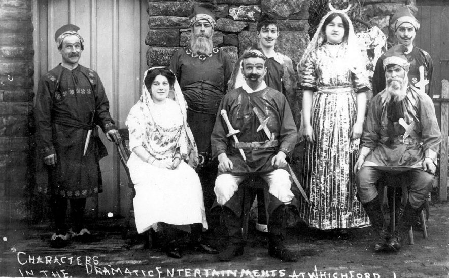 Characters in a dramatic entertainment at Whichford.  1910s |  IMAGE LOCATION: (Warwickshire County Record Office)