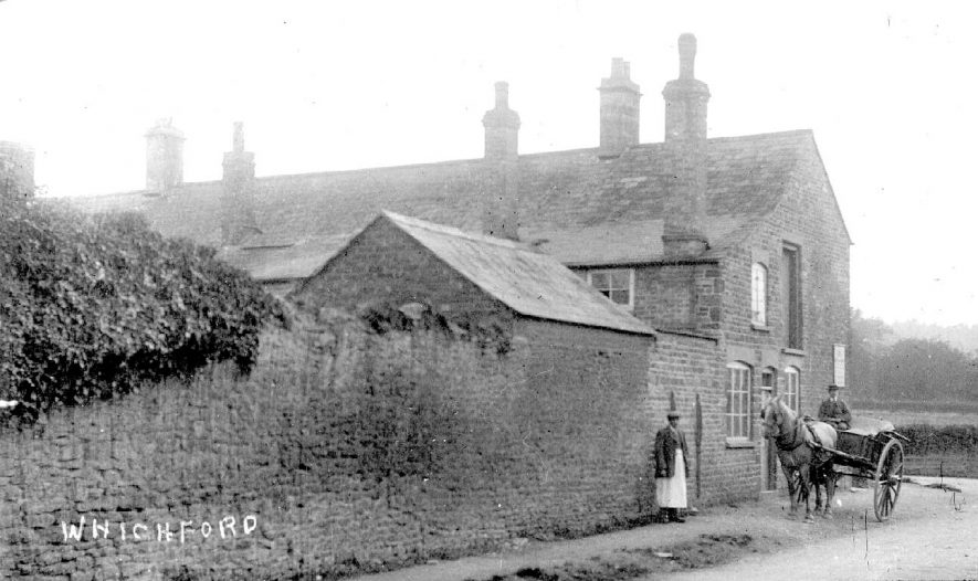 Cottage, possibly a shop, horse and cart and two men, Whichford.  1900s |  IMAGE LOCATION: (Warwickshire County Record Office)