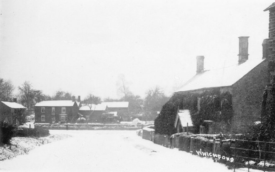Snow scene, Whichford.  1910s |  IMAGE LOCATION: (Warwickshire County Record Office)