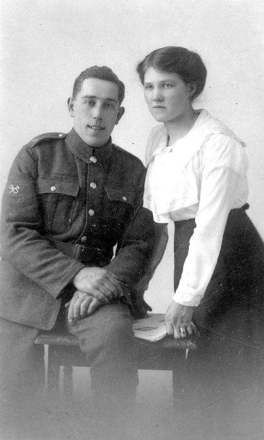 Studio portrait of Bert Smith, World War One soldier, and his wife. Whichford.  1910s |  IMAGE LOCATION: (Warwickshire County Record Office)