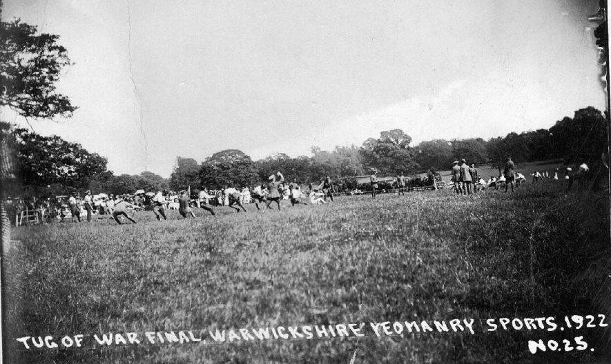 Tug of War final, Warwickshire Yeomanry sports day in Warwick Castle Park.  June 5th 1922 |  IMAGE LOCATION: (Warwickshire County Record Office)