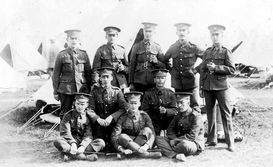 Soldiers of The Royal Warwickshire Regiment at camp.  1900s |  IMAGE LOCATION: (Warwickshire County Record Office)