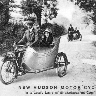 New Hudson Motor Cycles in a Leafy Lane.