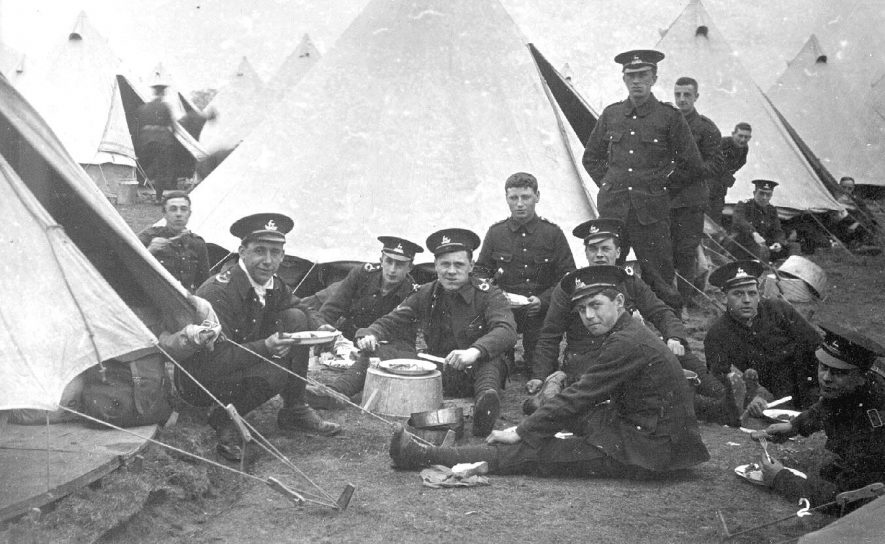 The 16th service battalion of The Royal Warwickshire Regiment at camp in Malvern Wells.  1910s |  IMAGE LOCATION: (Warwickshire County Record Office)