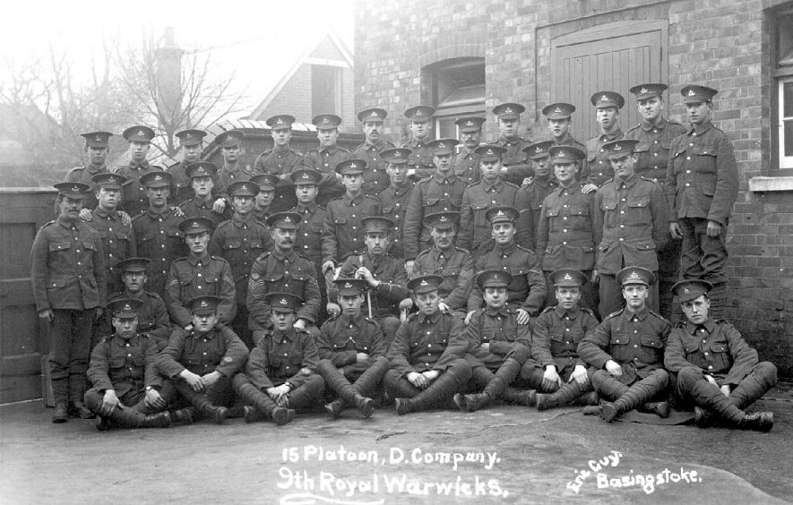 The 9th Royal Warwickshire Regiment, 15 Platoon, D Company.  1910s |  IMAGE LOCATION: (Warwickshire County Record Office)