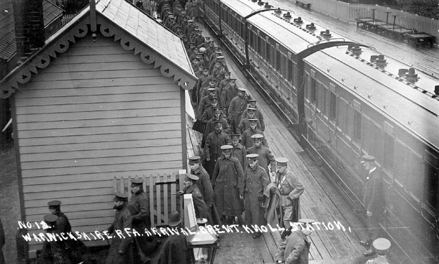 Picture of the Warwickshire R.F.A at Brent Knowle Station in Somerset.  1915 |  IMAGE LOCATION: (Warwickshire County Record Office)