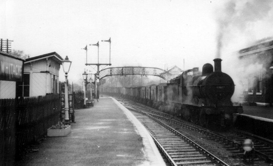 Goods train passing through Nether Whitacre station.  1959 |  IMAGE LOCATION: (Warwickshire County Record Office)