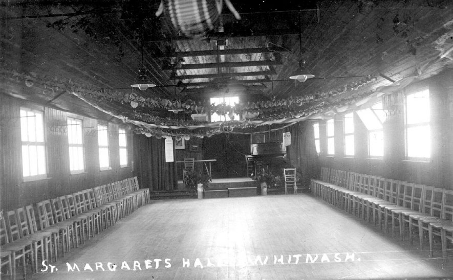 The interior of St Margaret's church hall, Whitnash.  1920s |  IMAGE LOCATION: (Warwickshire County Record Office)