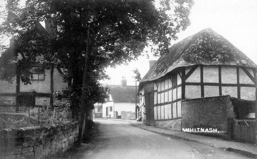 Thatched and timbered cottages in Whitnash.  1930s |  IMAGE LOCATION: (Warwickshire County Record Office)