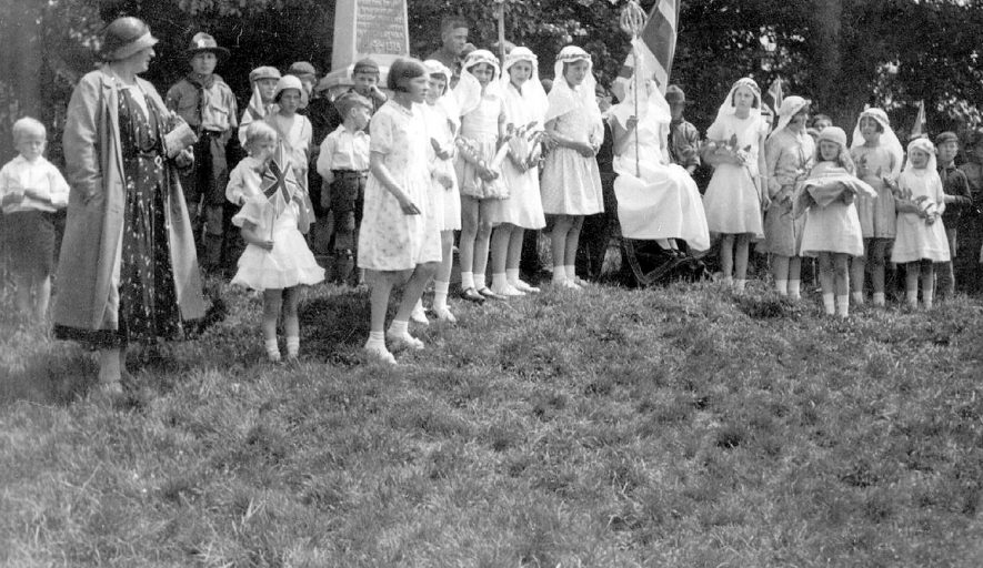 Group of children celebrating May Day in Whitnash.  1920s |  IMAGE LOCATION: (Warwickshire County Record Office)