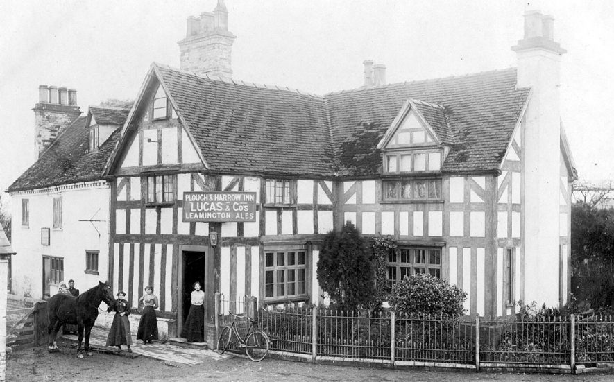 Exterior of The Plough and Harrow Inn at Whitnash.  1900s |  IMAGE LOCATION: (Warwickshire County Record Office)