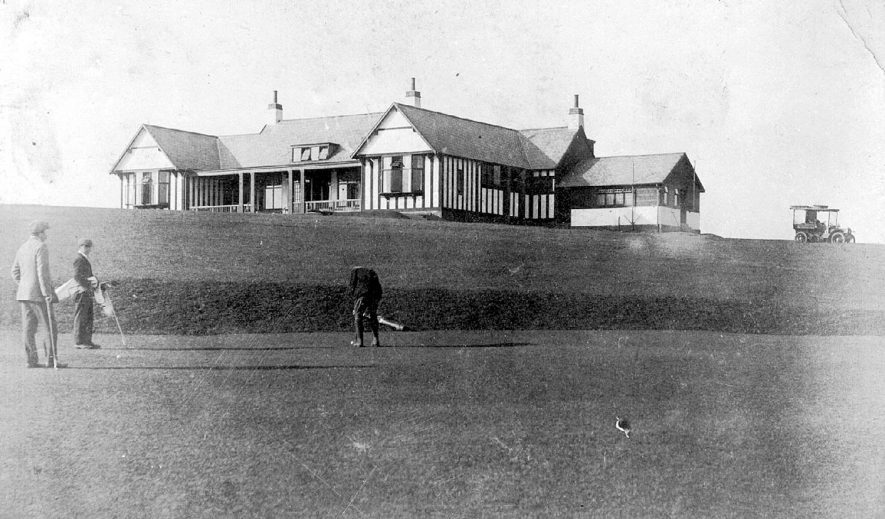 The clubhouse from the 18th hole on Whitnash golf course/links.  1910s |  IMAGE LOCATION: (Warwickshire County Record Office)