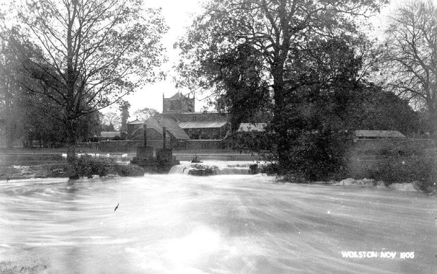 Flooding in front of the church at Wolston.  November 1906 |  IMAGE LOCATION: (Warwickshire County Record Office)