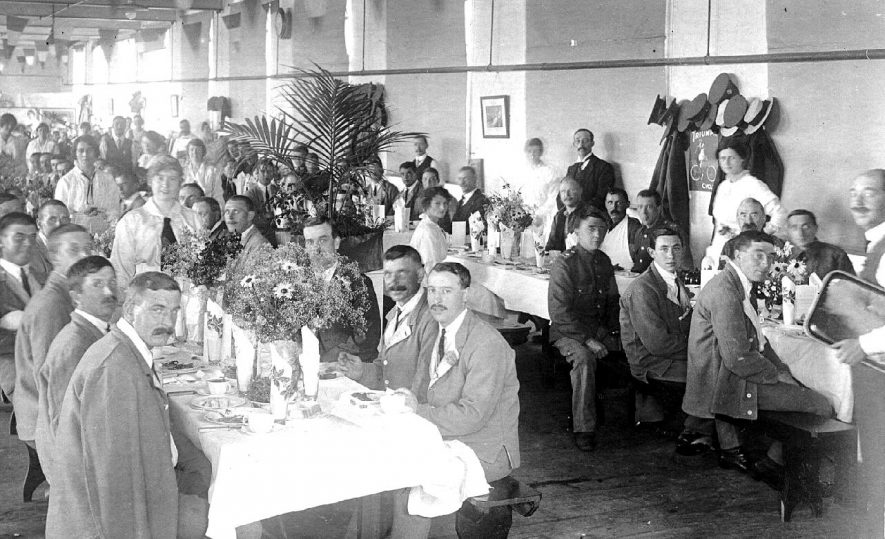 Meal being served at the V.A.D. hospital, Henley in Arden.  c. 1917 |  IMAGE LOCATION: (Warwickshire County Record Office)
