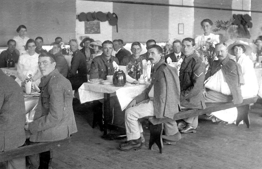 A meal being served in the Red Cross hospital, Henley in Arden.  c. 1917 |  IMAGE LOCATION: (Warwickshire County Record Office)