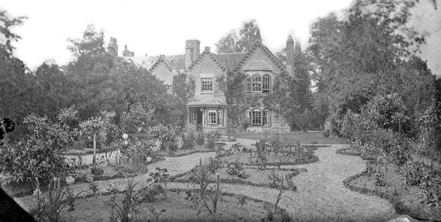 Chilvers Coton vicarage and its garden.  1900s |  IMAGE LOCATION: (Warwickshire County Record Office)