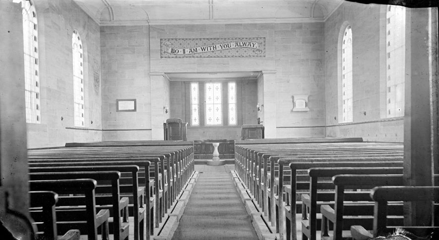Interior of Stockingford Church.  1900s |  IMAGE LOCATION: (Warwickshire County Record Office)