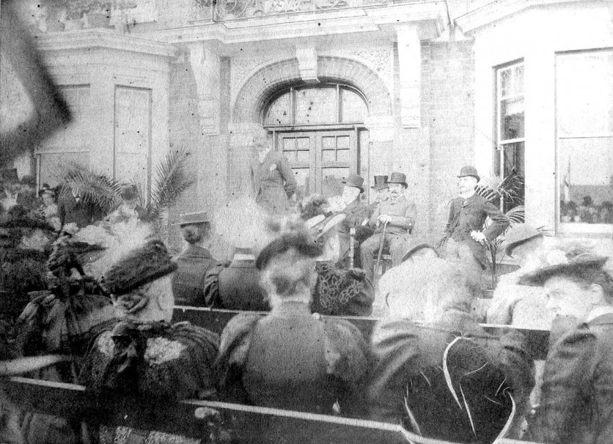 Opening ceremony at The Manor Hospital, Nuneaton either in 1893 when the hospital was built or 1899 when a wing was opened.  1890s |  IMAGE LOCATION: (Warwickshire County Record Office)