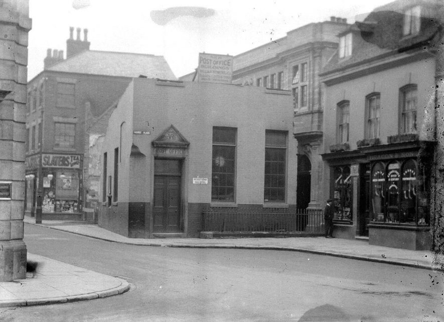 Bridge Street, Nuneaton. Post Office with contractors sign above stating