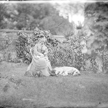 Nuneaton.  Lady with dogs