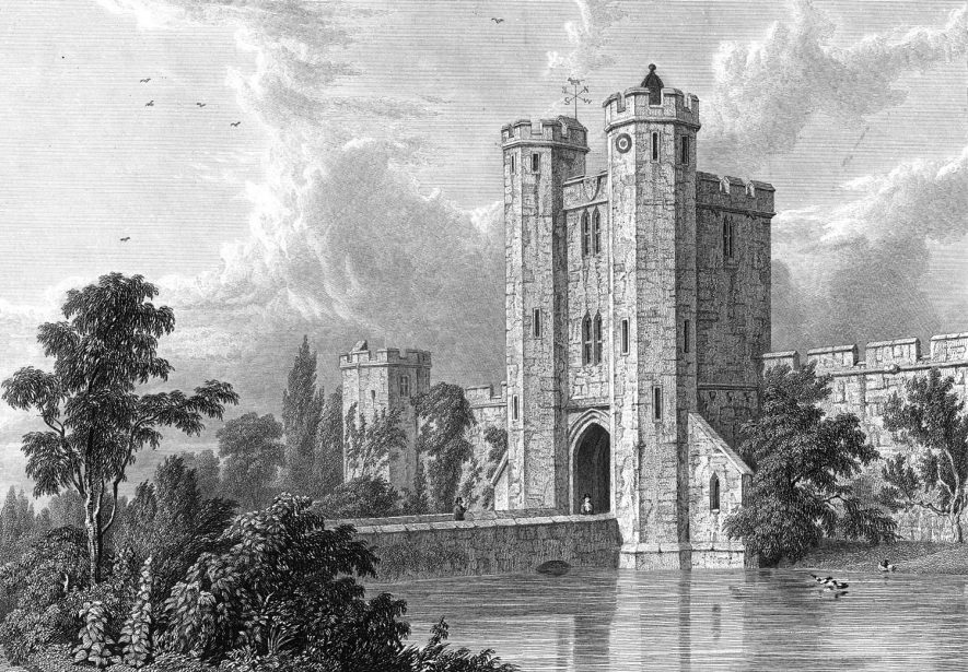 Maxstoke Castle and lake.  1823 |  IMAGE LOCATION: (Warwickshire County Record Office)