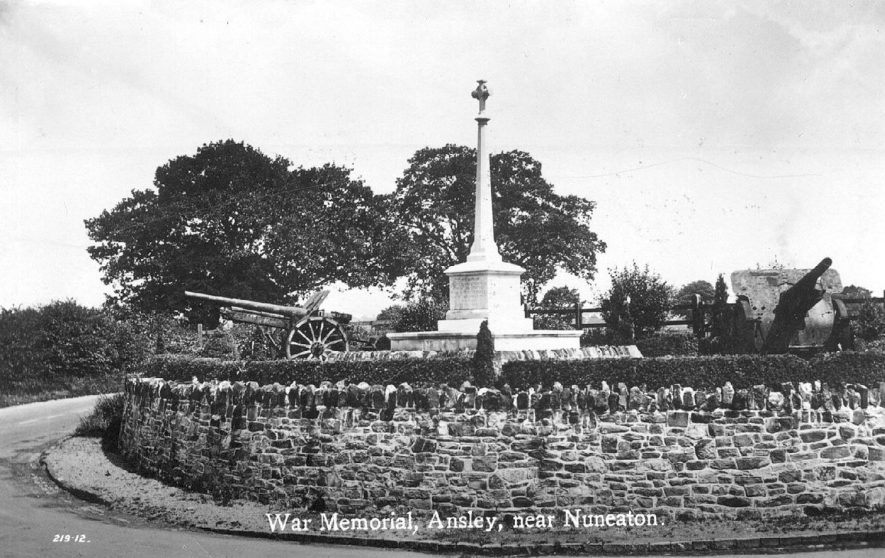 Ansley War Memorial.  Circa 1930 |  IMAGE LOCATION: (Warwickshire County Record Office)