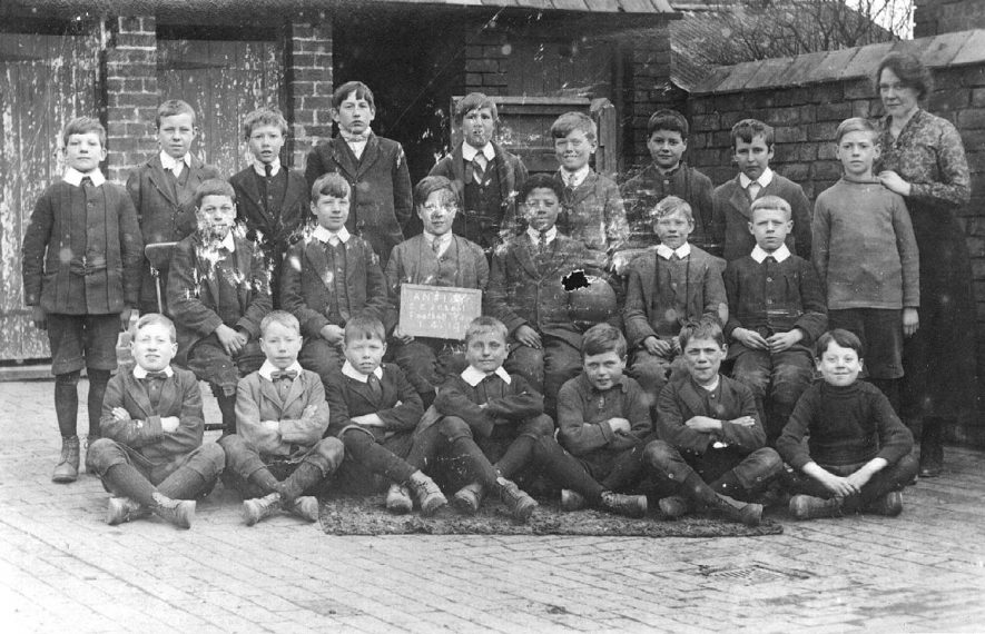 Ansley Church of England School football team.  April 1st 1919 |  IMAGE LOCATION: (Warwickshire County Record Office)
