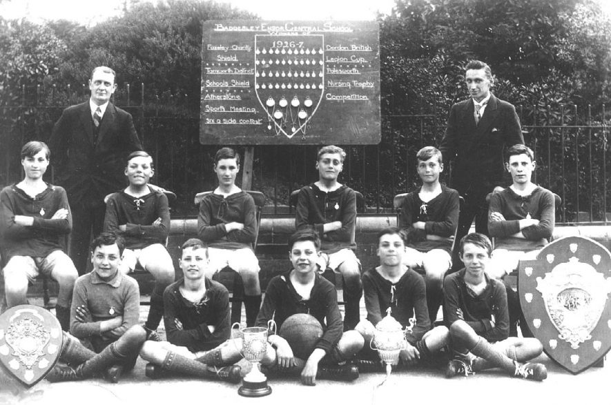 Baddesley Ensor Central School football team and trophies.  1926/7 |  IMAGE LOCATION: (Warwickshire County Record Office)